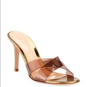 Gianvito Rossi Metallic Plexi Sandals